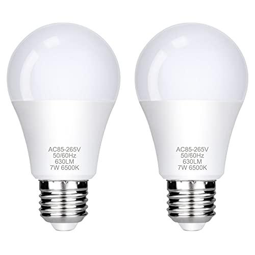 E27 LED Lampe, FAUETI Led Leuchtmittel 7W (ersetzt 40W), Kaltweiß 6500K, AC85-265V, 630LM, 220°Glühlampe Abstrahlwinkel, 2er-Pack [Energieklasse A+]