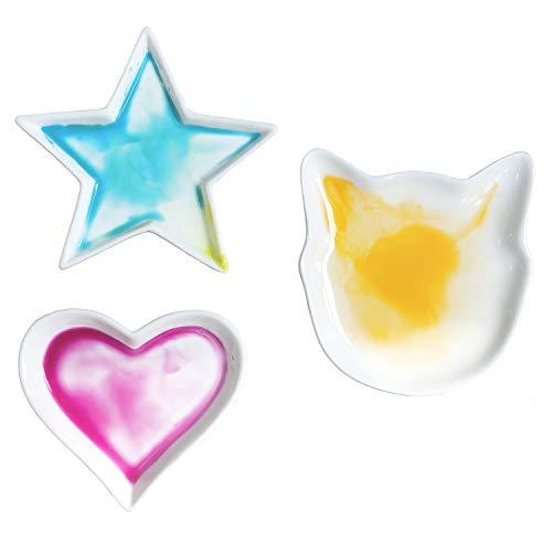 BOWER BIRD3PCS 작은 접시 정장 스타 하트 고양이 도자기 수채화 그림 팔레트 세라믹 팔레트(도자기)
