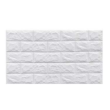 Foam brick wall panels Wall Panels 70*77cm Sticker Self-Adhesive Waterproof Foam Wall Brick For Interior Wall Decor Refreshing Bedroom Simulation Stone Wall Wallpaper ( Color : White , Size : 10pcs )