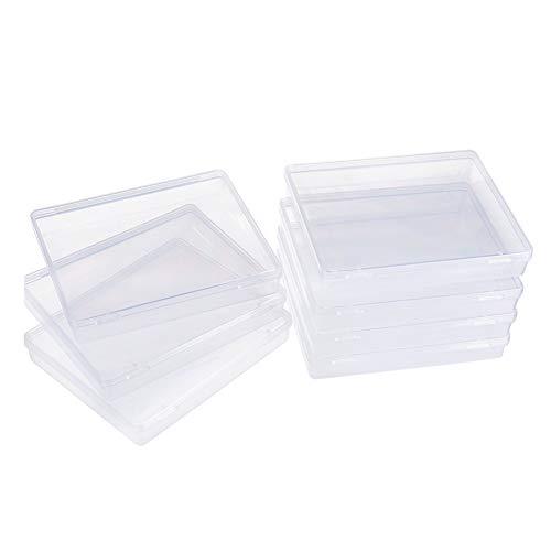BENECREAT 8 Pack Caja de Contenedores de Almacenamiento de Plástico Transparente con Tapas Abatibles para Pastillas Hierbas Cuentas Pequeñas Tarjetas