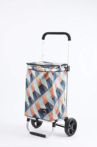 A'Domo RX-503005 Rixx - Carro de la compra (aluminio, poliéster, plástico, 30 L), color geométrico brillante