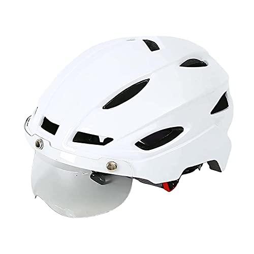 Casco De Bicicleta con Luz De Seguridad Y Visor De Protección Unisex Casco De Ciclo Protegido para Bicicletas Aire Libre Sports Safety Surperlight Ajustable Bicycle Casco Conexión Bluetooth, Blanco
