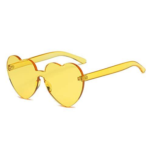 dingtian Gafas de sol de mujer Vintage Gafas de moda grandes mujeres señoras niñas gran tamaño en forma de corazón gafas de sol lindo amor gafas amarillo