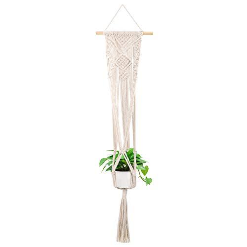 Lewondr Makramee Pflanzenhalter, Blumenampel Halterung Baumwollseil Aufhänger für Pflanzen Blumen Garten Innen Außen Deko - Beige, Diamant Paravent