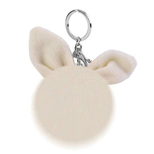 Fengyuanhong Bolsa Orejas de Conejo de Felpa de Llavero Anillo Dibujos Animados de Bolas de Bolas Llavero Mochila Clave Anillo Colgante de la Bola Pompón