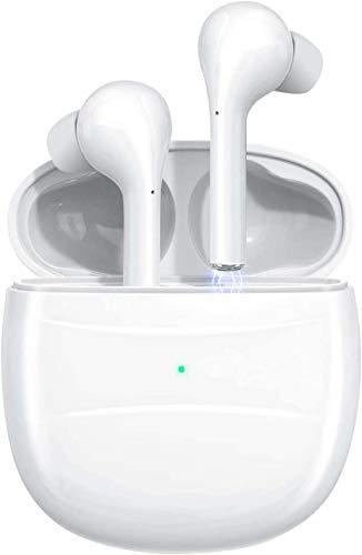 Aoslen Cuffie Bluetooth senza fili TWS Bluetooth 5.0 Headset Touch Control Noise Cancelling Cuffie con microfono e custodia di ricarica portatile bianco