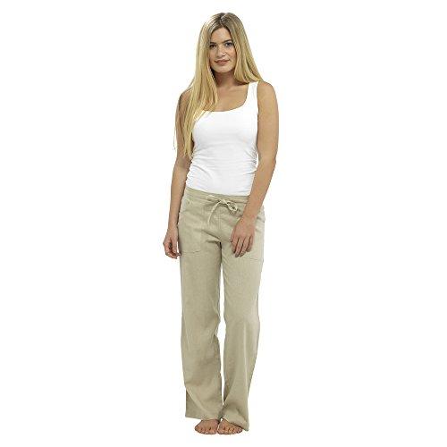 Pantaloni casual da donna in lino Vacanze elasticizzate Pantaloni estivi da donna Pantaloni da lavoro con tasche (24, pieni a tutta lunghezza)