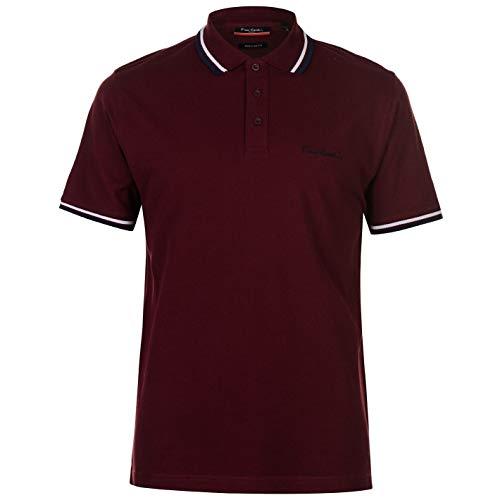 Pierre Cardin Herren Tipped Golf Polo Streifen Shirt Hemd Piquebasisch Einfach Bordeaux Size X-Large