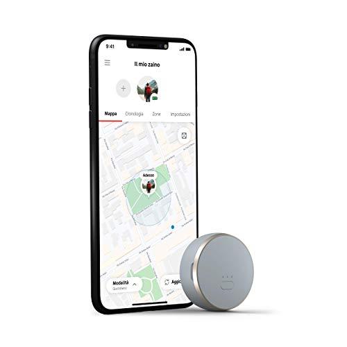 Vodafone Curve, lo Smart Tracker GPS con Bluetooth, Leggero, per la tua Borsa, Zaino, Auto, Computer, Chiavi e molto altro, grigio/oro