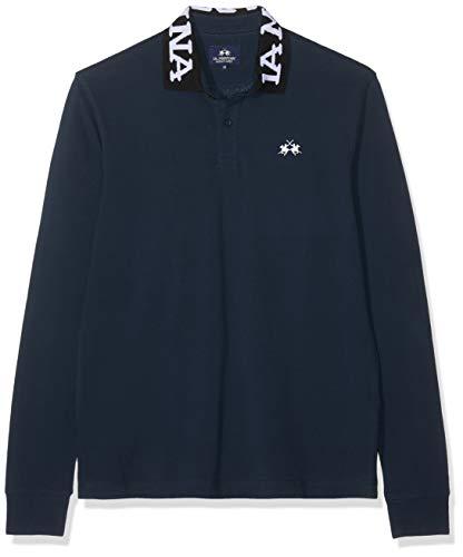 La Martina Man Polo Long Sleeve Piquet No Stretch, Blu (Navy 07017), X-Large (Taglia Produttore:XL) Uomo