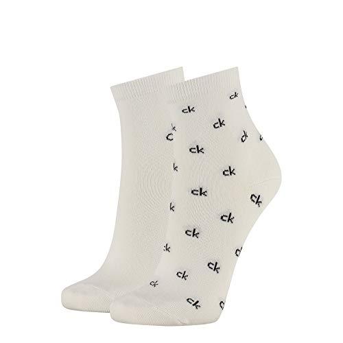 Calvin Klein Organic Cotton Women's Short Crew Socks (2 Pack) Calzini, Bianco, Taglia Unica Donna