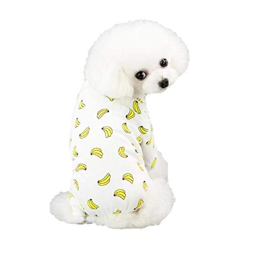 Ducomi Piji Pyjama Hund Baumwolle Größe S und M - Pyjamas Katzen 4 Pfoten - Anzug Haustiere Katze - Kostüm Kleidung Halloween Karneval (Banana, XXL)
