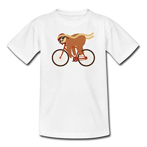 Faultier Schlafend Auf Fahrrad Sloth Kinder T-Shirt, 98-104, Weiß