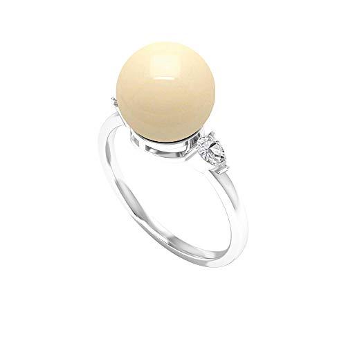 Anillo solitario de perlas de Tahití de 5,50 CT con diamante talla pera (perla de Tahití de 9 mm), 14K Oro blanco, perla tahitiana, Size:US 70