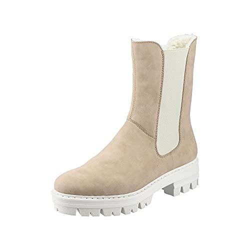 Rieker Damen 76190 Mode-Stiefel, beige, 37 EU