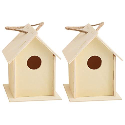 VILLCASE Holz Vogelhaus Unvollendete Vogelhaus zu Malen Hängenden Vogelhaus für Kleine Vogel DIY Vogelkäfig Herstellung Oder Dekoration zu Malen