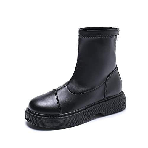 ZXCN Bottines Blanches Bottines Chaussures à Lacets Plat Heel Boots-Femmes Designer de Luxe Designer Rond Toile Plate-Forme Plate-Forme Low Dames 2021