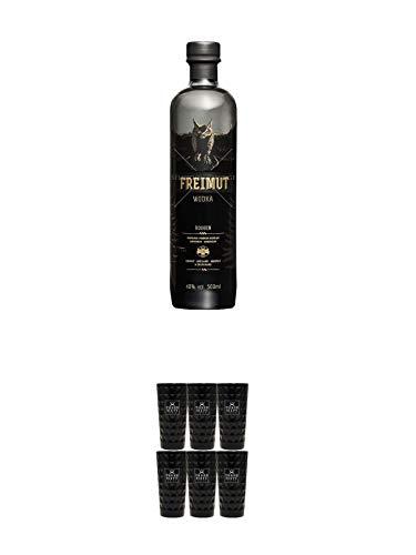 Freimut Bio Roggen Premium Wodka 0,5 Liter + Three Sixty black Vodka Glas 6 Stück (black)