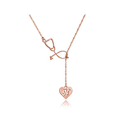 Dcfywl731 Rose Gold N Stethoscope Lariat Necklace 26 Initial Alphabet Letters Pendent Necklace Heart and Stethoscope Pendant for Doctor Medical Student Graduation Gift (N Stethoscope Necklace)