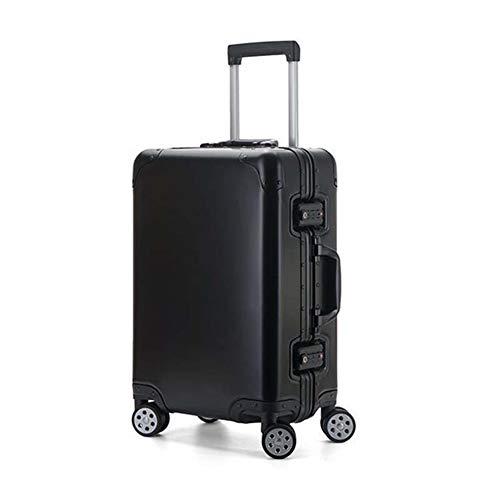 ZhengFei Handgepäck 20 Zoll Cabin Trolley 100% Aluminium-Magnesium-Legierung Rollgepäck Spinner Männer Business Reisetasche Koffer Räder (Farbe : Schwarz, Luggage Size : 24')
