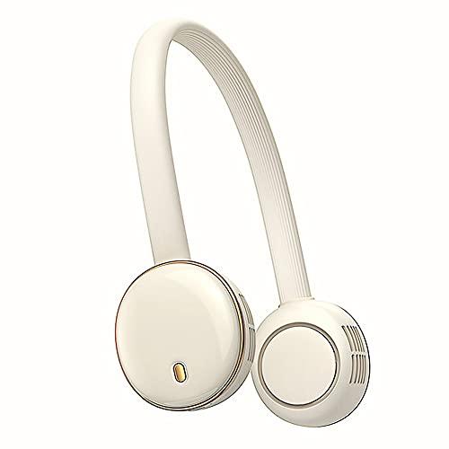 BAICHUN Ventilador Personal Portáti Ventilador De Cuello Colgante, USB Ventilador Sin Cuchillas Recargable,Mini Ventilador De Manos Libres, Ideal para Oficina, Viajes(Color:Blanco)