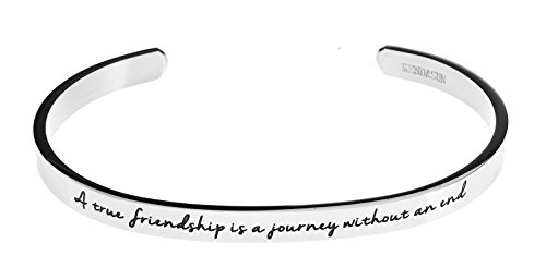 """A true friendship is a journey without an end."" Premium Stainless Steel Cuff Bangle Bracelet"