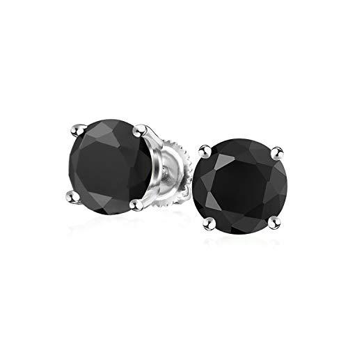 1 Ct Schwarze Runde Solitär Brillanten CZ Ohrstecker Für Damen Für Herren Schraubverschluss Ohrringe 925 Sterling Silber