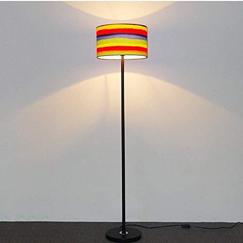 Staande Lamp Modern Metal Floor Lamp, Fabric Lampekap, warme sfeer Floor Lamp for Slaapkamer, Hotel, studeerkamer, Cafe, H145cm × W34cm Vloerlamp Plank Lamp LED (Color : Colourful)