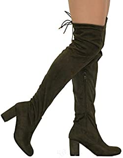MVE Shoes Womens Stretch Thigh High Heeled Boots