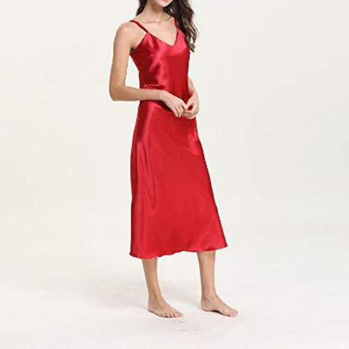 Yiyu Damen Reizvolle Nachtwäsche Nachthemd Dessous Spitze Babydoll Underwear Sleepskirt Satin Langes Kleid x (Color : Red, Size : M)