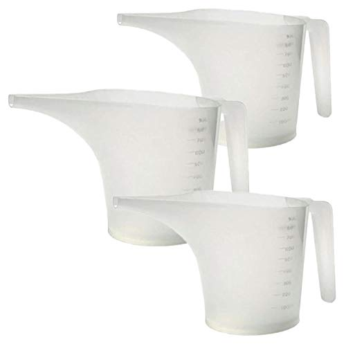 Funnel Measuring Cup Pitcher 3 pack for Soap Making Batter Pour Muffin Pastry Cake Making Pouring Spout 1 Liter 1000mL 34 Fl Oz 4.2 C
