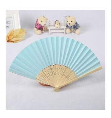 TSP 1 ventilador de mano de seda Fuji Kanagawa Waves japonés plegable de bolsillo, decoración de bodas, fiestas, regalos para decoración de pared del hogar (color azul)