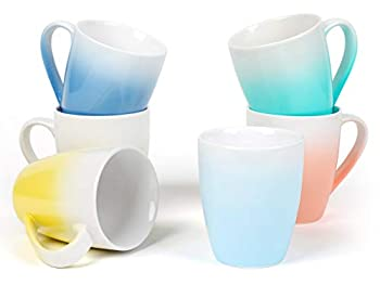 Coffee Mugs Set of 6 – 16 Oz Large Coffee Mugs for Tea Coffee Hot Chocolate – Ombre Mugs Assorted Colors Safe for Microwave and Dishwasher