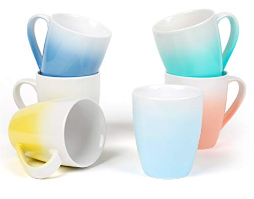 Coffee Mugs Set of 6 – 16 Oz Large Coffee Mugs for Tea, Coffee, Hot Chocolate – Ombre Mugs Assorted Colors, Safe for Microwave and Dishwasher