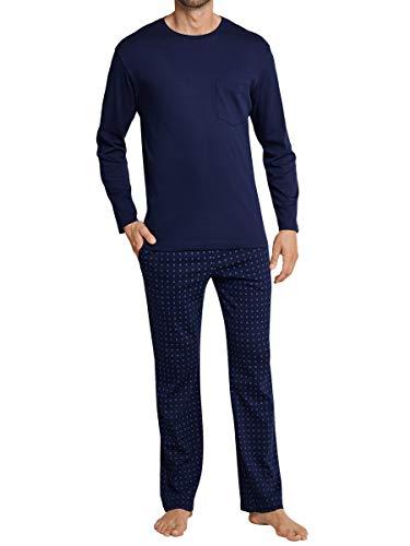 Seidensticker Herren Langer Schlafanzug Pyjama Lang - 163603, Größe Herren:56, Farbe:dunkelblau