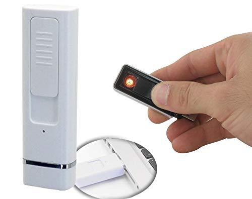 Yes Fire aansteker, USB, oplaadbaar, zonder gas en vlamloos, winddicht, wit