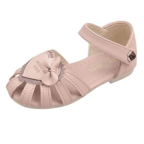 Sandalias para niñas con diseño de princesa, zapatos planos bohemios, informales, de flores, para niños pequeños, para caminar, playa, zapatos de verano, color Rosa, talla 17 EU