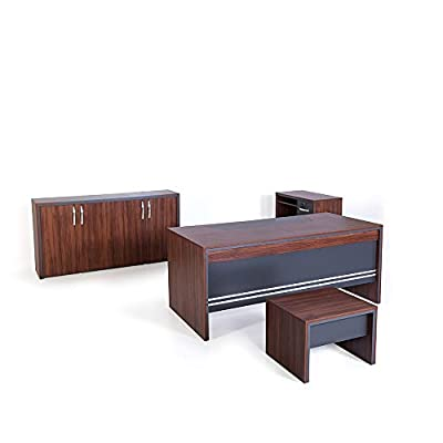 Casa Mare Modern Arya 4 Pieces Office Furniture Set | Home Office Furniture | Office Desk | Executive Desk | Rustic Brown & Black