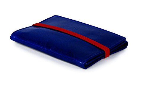 Piamonte - Cartera de Piel desplegable Icon 950; con Billetera y Tarjetero, Minimalista y Slim [Handmade] - Azul China + Rojo Anaranjado