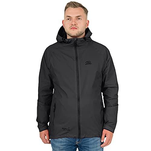 Highlander Waterproof Packaway Jacket - Cappotto antipioggia leggero per uomo, donna e bambino - Mac leggero e traspirante che si ripone nella sua comoda borsa - Stow & Go (Nero, XXL)