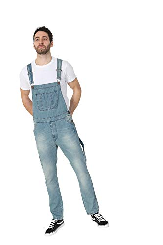 USKEES Toby Latzhose, Slim Leg - Aged Blue Herren Denim Jeans-Latzhose TOBY1AGEDBLUE-34W