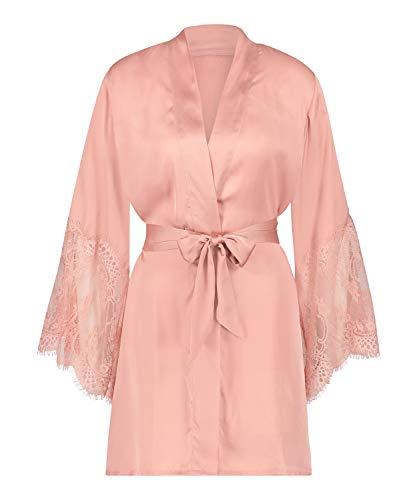 HUNKEMÖLLER Damen-Kimono aus Satin, mit Spitze, Gürtel und Langen Ärmeln Rose XS/S