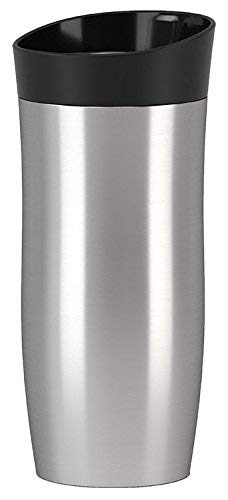 Emsa Isolierbecher, Mobil genießen, 360 ml, Quick Press Verschluss, 100% dicht, gebürsteter Edelstahl, City Mug, 517811