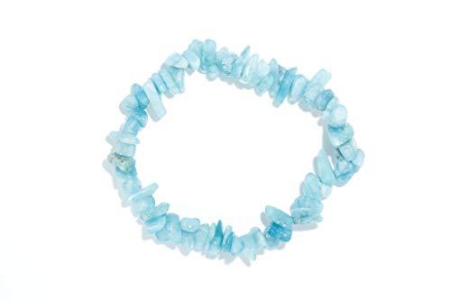 Taddart Minerals - Pulsera de aguamarina azul sobre hilo de nailon elástico, hecha a mano
