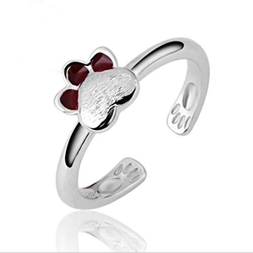 KHJH Damen Verstellbare Öffnung Ring,925 Silber Mode Koreanisch Nette Katzenpfote Ringe Schmuck Romantische Hochzeit Dating Für Paar Mädchen Lady