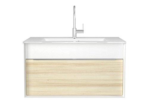Wastafelonderkast 110 cm breed wit of esdoorn wastafelonderkast onderkast badmeubelset hangend Sieper Atessa wit/esdoorn