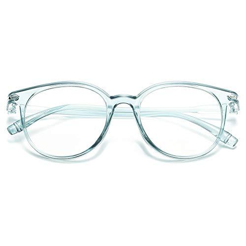 KOOSUFA Blaulichtfilter Brillen Anti Blaulicht Brillen Ohne Sehstärke Damen Herren Computer Gaming Brillen Anti Müdigkeit Leicht Retro Brillengestelle mit Etui (Blau durchsichtig)