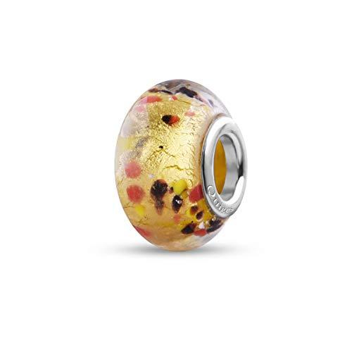 Preisvergleich Produktbild Quiges Glas Bead Perle für Damen Handgemacht Gold mit Roten Schwarzen Flocken