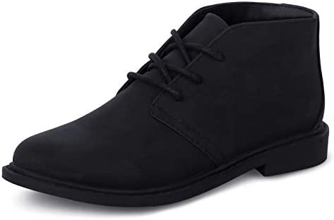 Boys Dress Shoes School Uniform Kids lace up Classic Oxford Boots Comfortable Loafer Black US product image