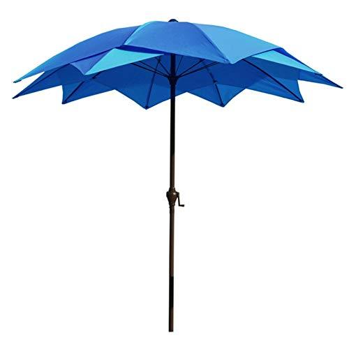 HH- Sombrillas Parasol de Jardín de 2,5 M / 8,2 Pies, Sombrilla para Exteriores Sombrilla para Patio/Playa/Piscina Sombrillas con Manivela Enrollable, Diseño de Encaje de Loto (Color : Blue)